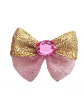 Fiocchetto con elastico Pink Glitter