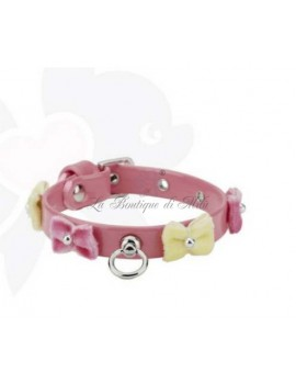 Bow Velvet Collar Salmon Sparkling Dog
