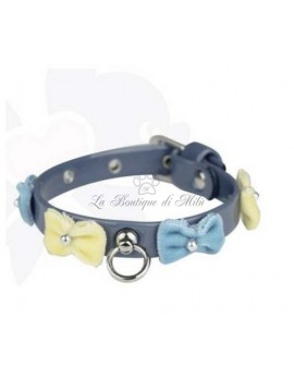 Bow Velvet Collar Blue Sparkling Dog
