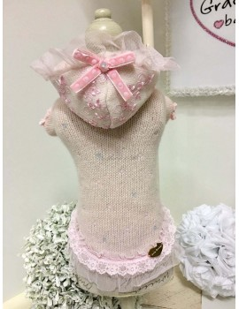 Pink & Sparkling Hood in Lace Dress Grace Graciola