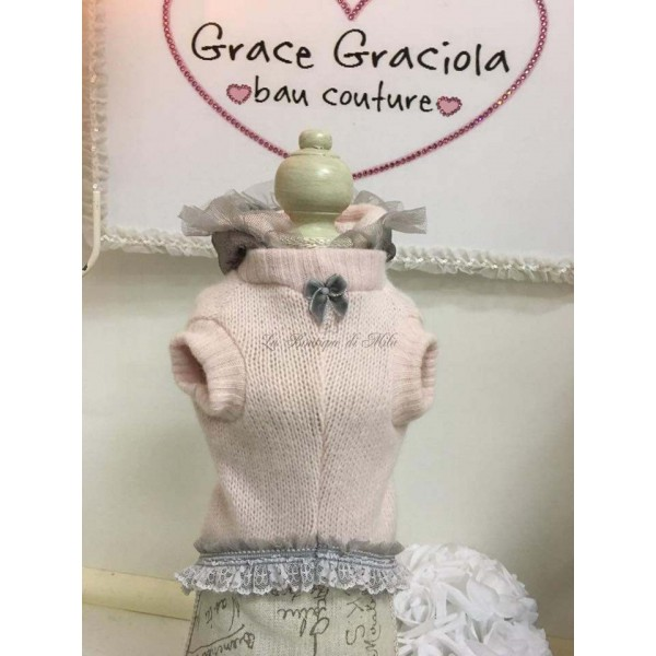 Pink & Grey Hood in Lace Pull SPECIAL LIMITED EDITION Grace Graciola