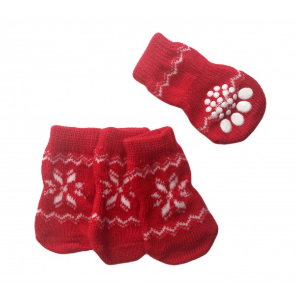 Calzini Antiscivolo Red Snowflakes