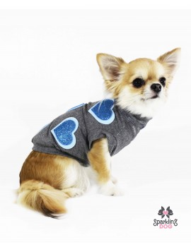 Sparkling Hearts T-Shirt Blue Sparkling Dog