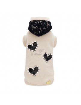 BLACK HEARTS SWEATSHIRT Piccoli Pets
