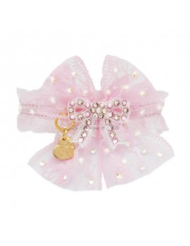 PRECIOUS BOW COLLAR BABY PINK ECOPATENT/GOLD Piccoli Pets