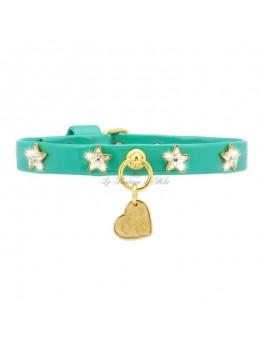 STARS COLLAR EMERALD ECOPATENT/GOLD Piccoli Pets