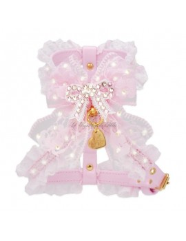 PRECIOUS BOW HARNESS BABY PINK ECOPATENT/GOLD Piccoli Pets
