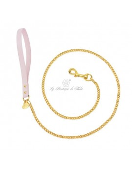 Piccoli Pets CHAIN LEASH POWDER ROSE ECOLEATHER/GOLD