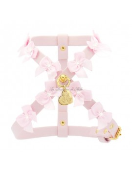 Piccoli Pets LITTLE BOWS HARNESS POWDER ROSE ECOLEATHER/GOLD