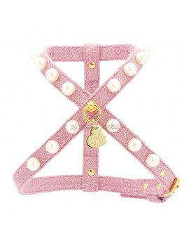 Piccoli Pets DIAMOND CHAIN HARNESS POWDER ROSE ECOLEATHER/GOLD