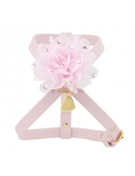 Piccoli Pets CHIC FLOWER HARNESS POWDER ROSE ECOLEATHER/GOLD