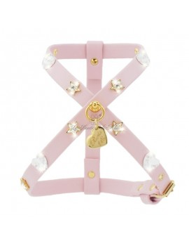 Piccoli Pets HEARTS HARNESS POWDER ROSE ECOLEATHER/GOLD