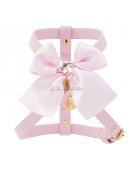 Piccoli Pets HEART SEW ON BOW HARNESS POWDER ROSE ECOLEATHER/GOLD