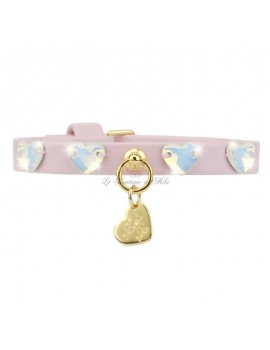 Piccoli Pets HEARTS COLLAR POWDER ROSE ECOLEATHER/GOLD