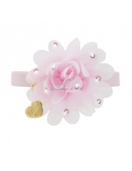 Piccoli Pets CHIC FLOWER COLLAR POWDER ROSE ECOLEATHER/GOLD