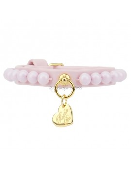Piccoli Pets PEARLS COLLAR POWDER ROSE ECOLEATHER/GOLD