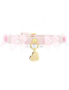 Piccoli Pets LITTLE BOWS COLLAR POWDER ROSE ECOLEATHER/GOLD