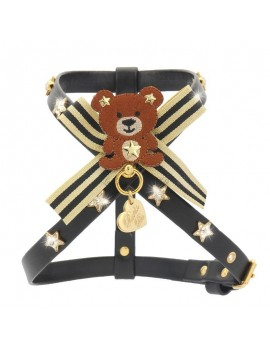 Piccoli Pets TEDDY GOLD STARS HARNESS BLACK ECOLEATHER/GOLD