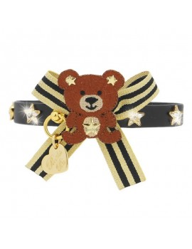 Piccoli Pets TEDDY GOLD STARS COLLAR BLACK ECOLEATHER/GOLD