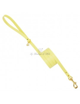 Piccoli Pets PLAIN LEASH YELLOW ECOLEATHER/GOLD