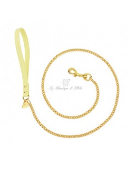 Piccoli Pets CHAIN LEASH YELLOW ECOLEATHER/GOLD