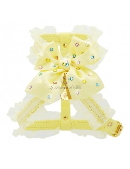 Piccoli Pets RAINBOW BOW HARNESS YELLOW ECOLEATHER/GOLD