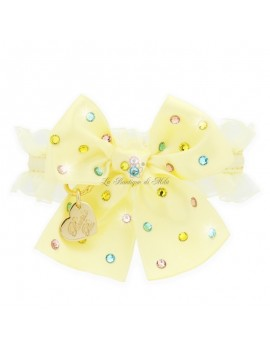 Piccoli Pets RAINBOW BOW COLLAR YELLOW ECOLEATHER/GOLD